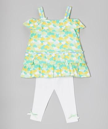 Green Heart Tunic & White Leggings - Infant, Toddler & Girls