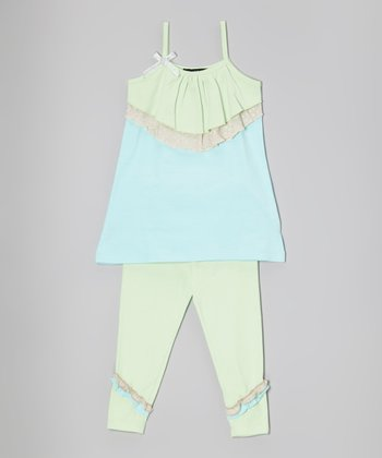 Mint & Blue Tiered Tunic & Leggings - Infant, Toddler & Girls