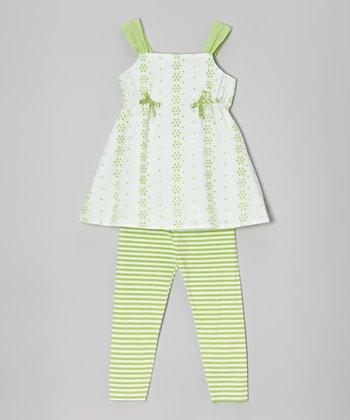 Lime & White Tunic & Stripe Leggings - Infant, Toddler & Girls