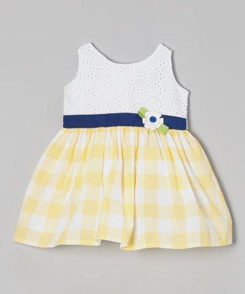 White & Yellow Gingham Dress - Infant, Toddler & Girls