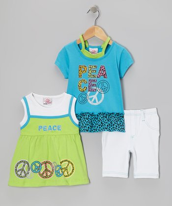 Blue Peace Sign Layered Top Set - Infant, Toddler & Girl