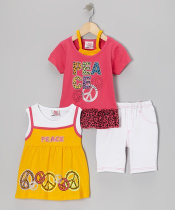 Orange Peace Sign Layered Top Set - Infant, Toddler & Girls