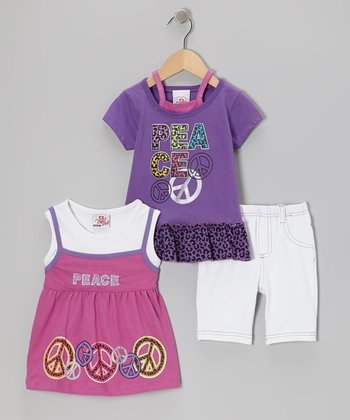 Purple Peace Sign Layered Top Set - Infant, Toddler & Girls