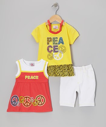 Yellow Peace Sign Layered Top Set - Infant, Toddler & Girls
