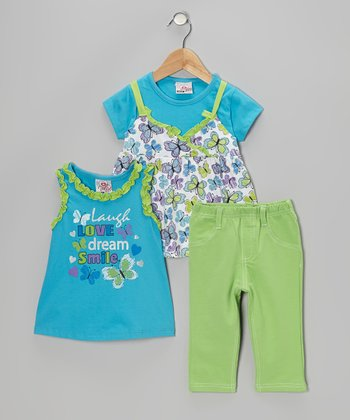 Blue Butterfly Layered Top Set - Infant, Toddler & Girls