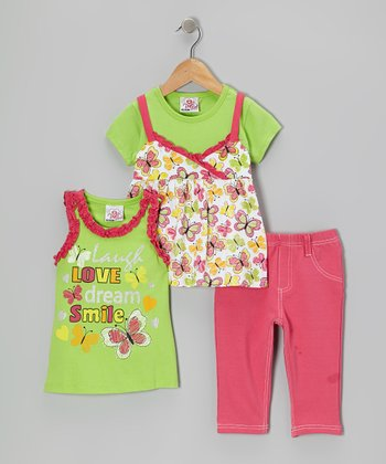 Green Butterfly Layered Top Set - Infant, Toddler & Girls