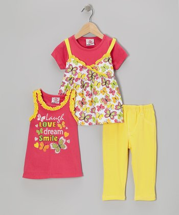 Pink Butterfly Layered Top Set - Infant, Toddler & Girls
