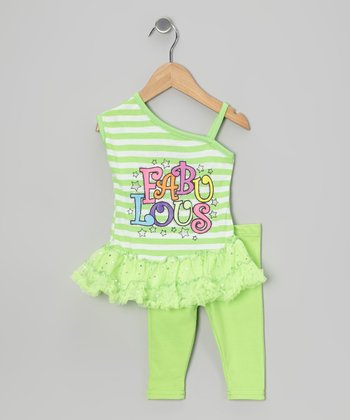 Green Stripe 'Fabulous' Tunic & Leggings - Infant