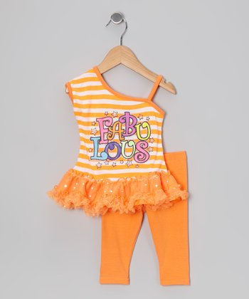 Orange Stripe 'Fabulous' Tunic & Leggings - Infant