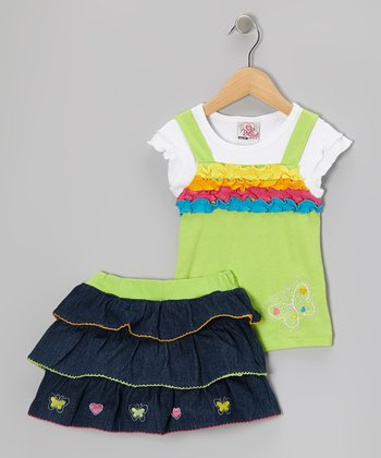 Green Ruffle Layered Top & Denim Skirt - Infant, Toddler & Girls
