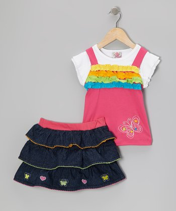 Pink Ruffle Layered Top & Denim Skirt - Infant, Toddler & Girls