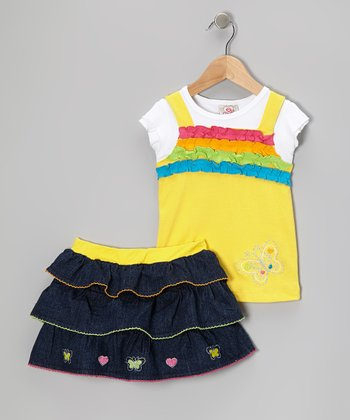 Yellow Ruffle Layered Top & Denim Skirt - Infant, Toddler & Girls