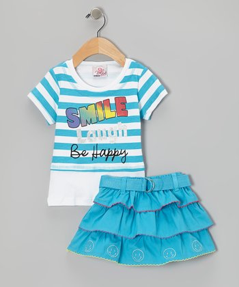 Blue Stripe Smile Top & Belted Skirt - Infant, Toddler & Girls