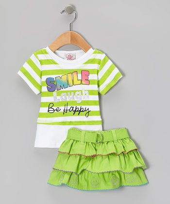Green Stripe Smile Top & Belted Skirt - Infant, Toddler & Girls