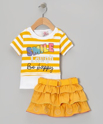 Orange Stripe Smile Top & Belted Skirt - Infant, Toddler & Girls