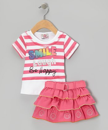 Pink Stripe Smile Top & Belted Skirt - Infant, Toddler & Girls