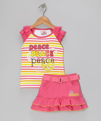 Pink Stripe Peace Sign Top & Skirt - Infant, Toddler & Girls