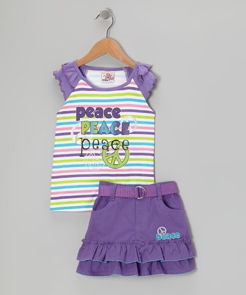 Purple Stripe Peace Sign Top & Skirt - Infant, Toddler & Girls