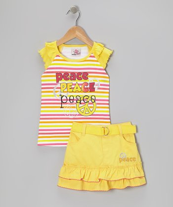 Yellow Stripe Peace Sign Top & Skirt - Infant, Toddler & Girls