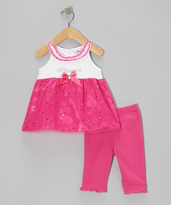 Pink 'Princess' Yolk Top & Capri Leggings - Infant & Girls