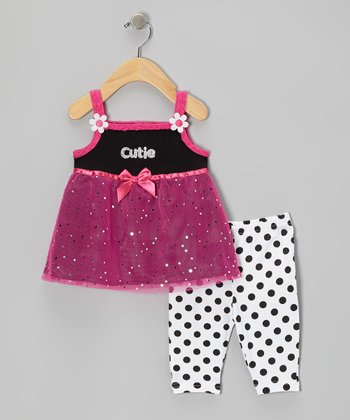 Black 'Cutie' Tunic & Polka Dot Capri Leggings - Infant & Girls