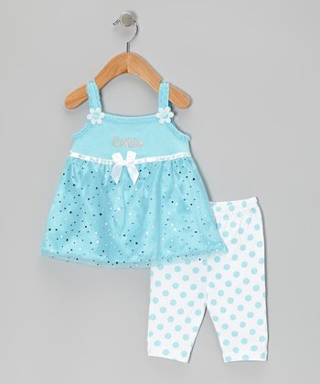 Blue 'Cutie' Tunic & Polka Dot Capri Leggings - Infant & Girls