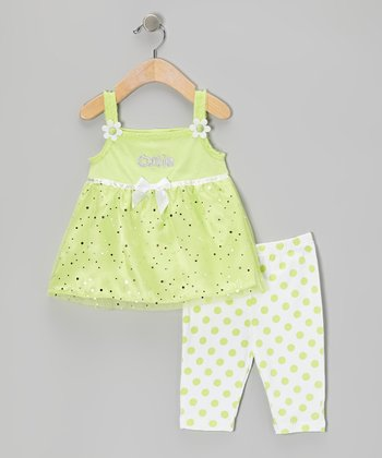Green 'Cutie' Tunic & Polka Dot Capri Leggings - Infant & Girls