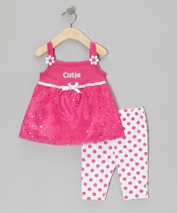 Pink 'Cutie' Tunic & Polka Dot Capri Leggings - Infant & Girls