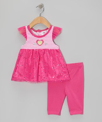 Pink Shimmer Angel-Sleeve Top & Capri Leggings - Infant & Girls