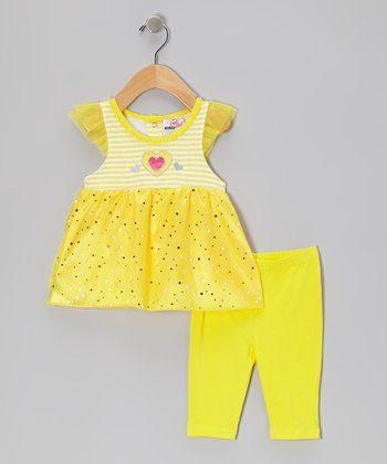 Yellow Shimmer Angel-Sleeve Top & Capri Leggings - Infant & Girls