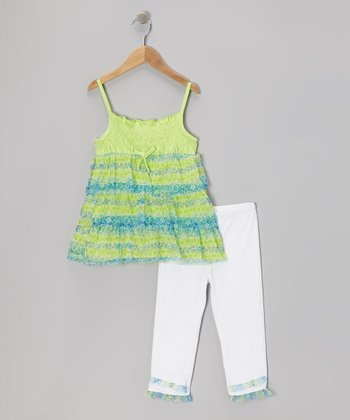 Green Floral Tier Tunic & White Capri Leggings - Toddler & Girls