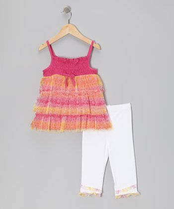 Pink Floral Tier Tunic & White Capri Leggings - Toddler & Girls