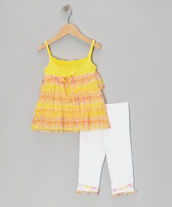 Yellow Floral Tier Tunic & White Capri Leggings - Toddler & Girls