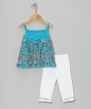 Blue Tiger Tunic & White Capri Leggings - Infant, Toddler & Girls