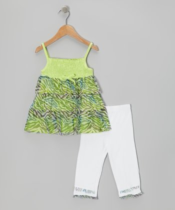 Green Tiger Tunic & White Capri Leggings - Infant Toddler & Girls