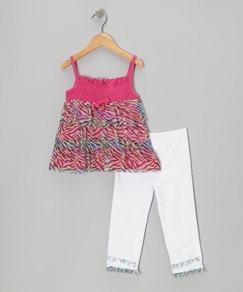 Pink Tiger Tunic & White Capri Leggings - Infant, Toddler & Girls