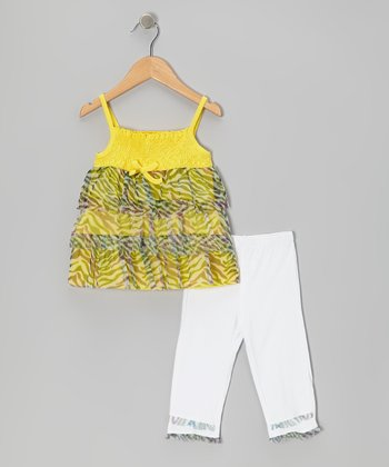 Yellow Tiger Tunic & White Leggings - Infant, Toddler & Girls