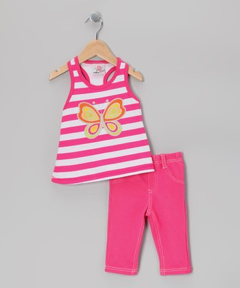 Pink Stripe Butterfly Top & Leggings