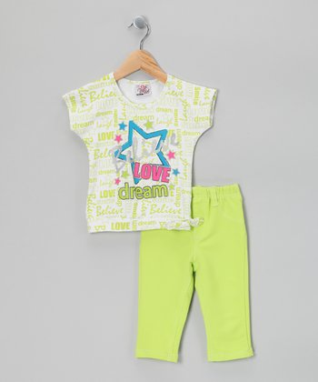 Green 'Believe' Tee & Leggings