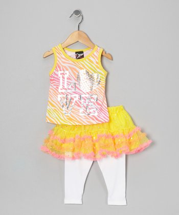 Yellow 'Love' Tank & Skirted Leggings - Infant, Toddler & Girls
