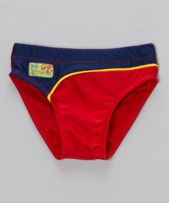 Sweet & Soft Red & Navy Swim Diaper - Infant