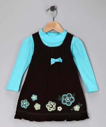Blue Floral Tee & Swing Dress - Infant