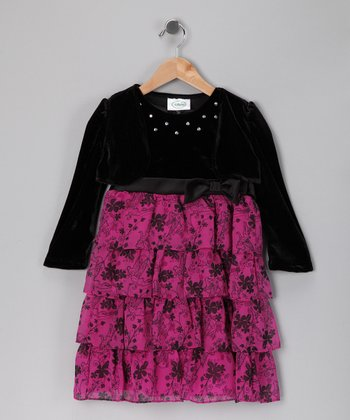 Pink & Black Floral Tiered Ruffle Dress - Girls