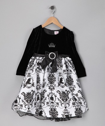 Black & White Damask Dress - Girls