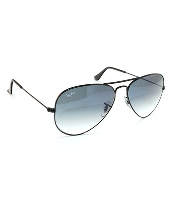 Black & Light Blue 58-mm Aviator Large Metal Sunglasses
