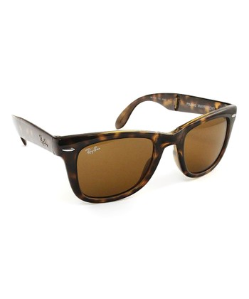 Light Havana Folding Wayfarer Sunglasses