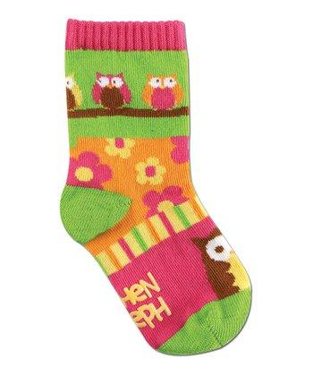 Green & Pink Owl Socks