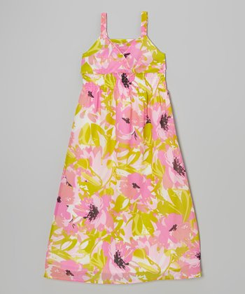 She's Cool Green & Pink Floral Maxi Dress - Girls