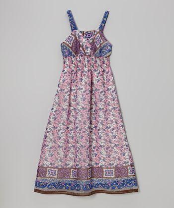 She's Cool Pink & Blue Scarf Print Maxi Dress - Girls