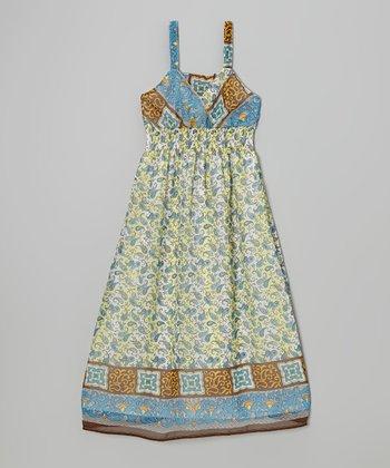 She's Cool Yellow & Blue Scarf Print Maxi Dress - Girls